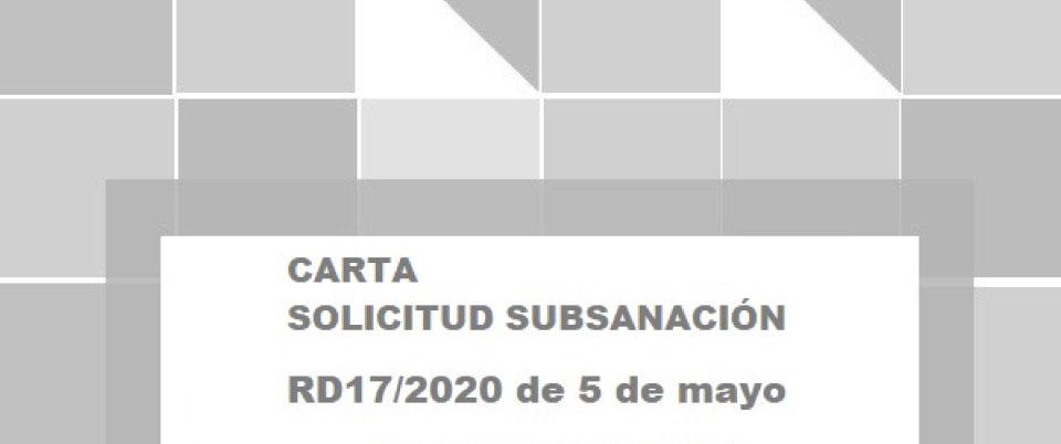 CARTA SUBSANACIÓN RD/17/2020 FIRMANTE MESA 52 MEDIDAS